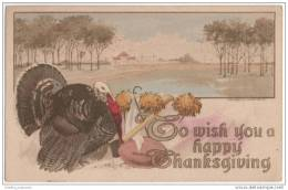 Thanksgiving - To Wish You A Happy Thanksgiving - Lovely Artist Illustrated Card - Thanksgiving