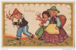 Buona Pasqua - Happy Easter - Lovely Gold Bordered Childrens Greeting Card - Easter