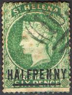 ST. HELENA - 1884 - EFFIGIE DELLA REGINA VITTORIA CON SOVRASTAMPA 17 MM - OVERPRINTED - SEE 2 SCANS - USATO - Isola Di Sant'Elena