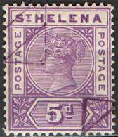 ST. HELENA - 1896 - EFFIGIE DELLA REGINA VITTORIA - 5 P. - USATO - Isola Di Sant'Elena