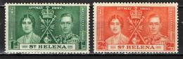 ST. HELENA - 1937 - INCORONAZIONE DEL RE GIORGIO VI - NUOVI MH - Isola Di Sant'Elena