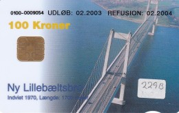 Denmark, DD 229Ba, Bridges, Lillebaeltsbroen, 22.147 Issued ( For A + B), 2 Scans.  Round Ø - Dänemark