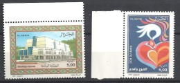 2000  Algérie N° 1251  à 1252  Nf**. Bibliothéque Nationale  Don Du Sang . - Algeria (1962-...)