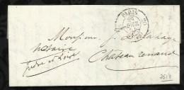 LETTRE DATEE DU 29 AVRIL 1854 AU DEPART DE PARIS POUR CHATEAU - RENAULT . - 1849-1876: Klassik