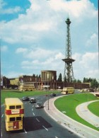 Germany PPC Berlin Funkturm Mit Stadtautobahn Radio Tower Busses & Old Cars (2 Scans) - Allemagne