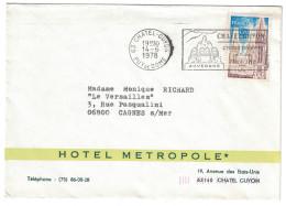 PUBLICITE Pour L´HOTEL METROPOLE à CHATEL-GUYON (Puy De Dome) Sur Enveloppe De 1978 Affranchie Avec N° 1808 - Marcophilie (Lettres)