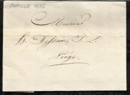LETTRE DATEE DU 04 FEVRIER 1835 DEPART DE JUPILLE  POUR  LIEGE . - Marcophilie (Lettres)