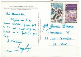 BEL AFFRANCHISSEMENT à 50c Avec Timbres N°426 + 428 Sur CP De 1973 Pour Nice CAD Saint Pierre Et Miquelon * - St.Pierre Et Miquelon