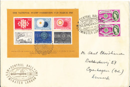 Great Britain Cover Stampex Central Hall Westminster London 17-25/3-1961 (big Size Cover) Sent To Denmark - Briefmarkenausstellungen