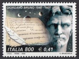 2635 Italia 2000 Giordano Bruno Filosofo Scrittore Monaco Domenicano Nuovo MNH Italy - Teologi