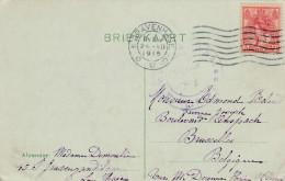 """5 Ct Op Kaart 's Gravenhage 1915 Via Aachen Naar Brussel """"pour... Haine St Pierre"""": Doorgezonden Post ! - 1891-1948 (Wilhelmine)"""