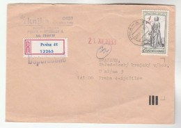 1983 REGISTERED Praha CZECHOSLOVAKIA COVER Vaclav HOLLAR ART  Stamps - Covers & Documents