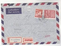 1962 REGISTERED EXPRESS Piestany  CZECHOSLOVAKIA  COVER 20h 3k Kladno Steel Mill Stamps To Praha - Czechoslovakia