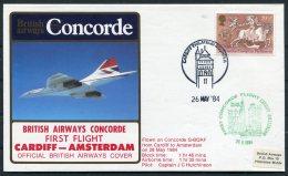 1984 Concorde British Airways First Flight Cover Cardiff - Amsterdam - Concorde