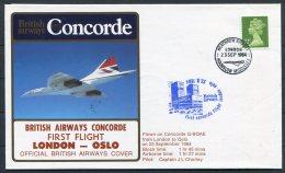 1984 Concorde British Airways First Flight Cover London - Oslo, Norway - Concorde