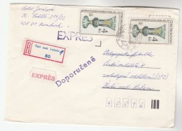 1985 REGISTERED Usti Nad Labem  CZECHOSLOVAKIA  COVER Stamps  2x 4k VASE - Covers & Documents