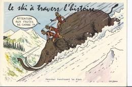"""1 CP """"le Ski à Travers L'histoire"""" Eléphant, Romains - Humour"""