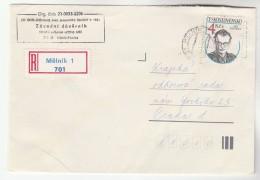 REGISTERED Melnik CZECHOSLOVAKIA COVER Stamps 4k Nalepka - Covers & Documents
