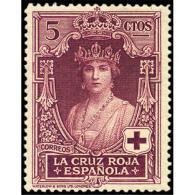 ES327STV-LFT***327STFR.ANIVERSARIO.CRUZ ROJA ESPAÑOLA.Reina Victoria Eugenia.1926 (Ed 327**) Sin Charnela MAGNIFICO - Familias Reales