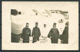 Greek Priests Onboard Royal Navy Battleship RP Postcard - Religions & Beliefs