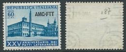 1954 TRIESTE A PATTI LATERANENSI 60 LIRE FILIGRANA LETTERA MNH ** - P24-3 - Ungebraucht