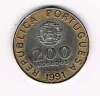 °°° PORTUGAL  200  ESCUDOS  1991 - Portugal