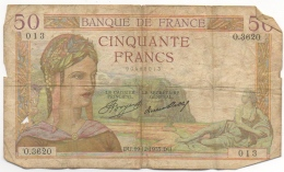 Billet. France. 50 Francs. 19-12-1935 - 50 F 1934-1940 ''Cérès''