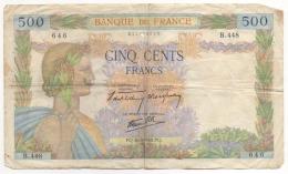Billet. France. 500 Francs. 16-5-1940. - 500 F 1940-1944 ''La Paix''