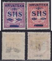 4699. Yugoslavia State SHS Croatia 1918 Hungarian Stamps With Overprint, MH (*) Michel 64-65 - Croatie