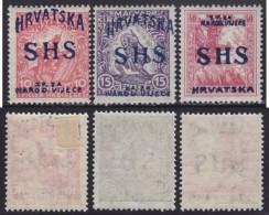 4700. Yugoslavia State SHS Croatia 1918 Hungarian Stamps With Overprint, MH (*) Michel 59-61 - Croatie