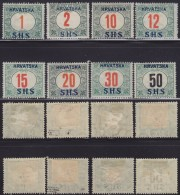 4705. Yugoslavia State SHS Croatia 1918 Porto Stamps, MH (*) Michel 27-34 - Croatie