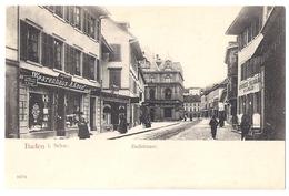 BADEN: Badstrasse Mit Warenhaus Knopf Und Apotheke, Animiert ~1900 - AG Argovie