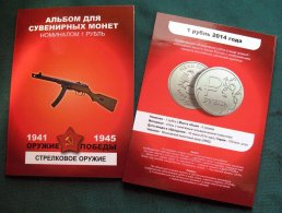 Russia, 2015, Guns, Victory II World War, Colored 12 Coins X 1 Rbl In Album - Russland
