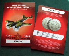 Russia, 2015, Planes, Victory II World War, Colored 12 Coins X 1 Rbl In Album - Russland