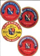 """4 étiquettes Différentes  CAMEMBERT """"PETIT St MARTIN"""" Fabriqués Dans La MARNE Et En CHAMPAGNE Ets PAIN JESSON TROIS ECUS - Formaggio"""