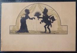 Litho ART NOUVEAU SURREALISME ILLUSTRATEUR CAVALLY ? A.W. COUPLE SILHOUETTE OMBRE HOMME OFFRE BOUQUET A FEMME - Silhouettes