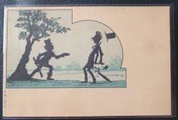 Litho ART NOUVEAU SURREALISME ILLUSTRATEUR CAVALLY ? A.W. DUO HOMME SILHOUETTE OMBRE BRIGAND SOUS ARBRE - Silhouettes