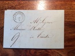 Egypte Levant Autrichien; Egypt Austrian Levant: ALEXANDRIEN 1852 FORWARDED Cover From CAIRO > Triest (lettre Austria - Égypte