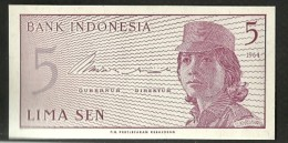 INDONESIE = UN BILLET DE BANQUE DE 5 SEN DE 1964 NEUF - Indonésie