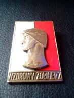Polish Army Exemplary Soldier Wzorowy Żołnierz 1950s Brass Enamel POLAND POST WWII 1950 GOLD VERSION PIN RARIT - Medals