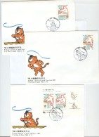 SOUTH KOREA 3 FDC's With Set And Block With Cancels SEOUL Rowing/Running 1985 6 10 In BLACK Korean Caracthers - Ete 1988: Séoul