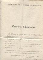 ECOLE NATIONALE ET SPECIALE DES BEAUX-ARTS - CERTIFICAT D´ADMISSION - 1882 - Diplômes & Bulletins Scolaires