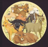 China - The 1st Class Protected Animals: Equus Przewalskii, Bactrian Camel, Etc., Circular-shaped Postcard - Horses