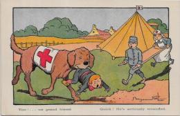 CPA Satirique Caricature Guerre 14-18 Patriotique Benjamin RABIER Chien Sanitaire Croix Rouge Non Circulé - Rabier, B.