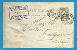 France - Carte Postale Type Sage N°89-CP4 De NANCY R.P. à FAULQUEMONT Du 15/9/92 - Biglietto Postale