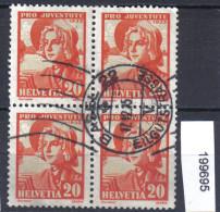Schweiz  PJ 1935 Zst. 75 / Mi. 289 Viererblock Bedarfsstempel Basel 22 - Pro Juventute