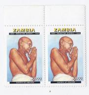 Zambia - 1869 - MAHATMA GANDHI - 1948- Gandhi At Prayer - Coppia - Nuovo - Mahatma Gandhi