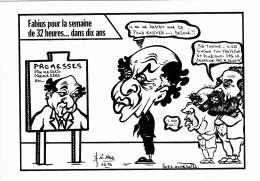 "CPM J. JAURES L. FABIUS F. MITTERRAND ""Promesses"" Caricature Tirage Limité LARDIE - Lardie"