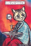 CPM  Animal Humanisé  Position Humaine Chat Cat Catze Absinthe Tirage Limité JIHEL / LARDIE - Lardie