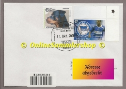 Privatpost - PIN AG  -  Umschlag  -  Marke : Hund Und Fußball Hertha BSC Gilberto - Voetbal